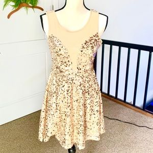 Red Clover Gold Sequin Cocktail Dress